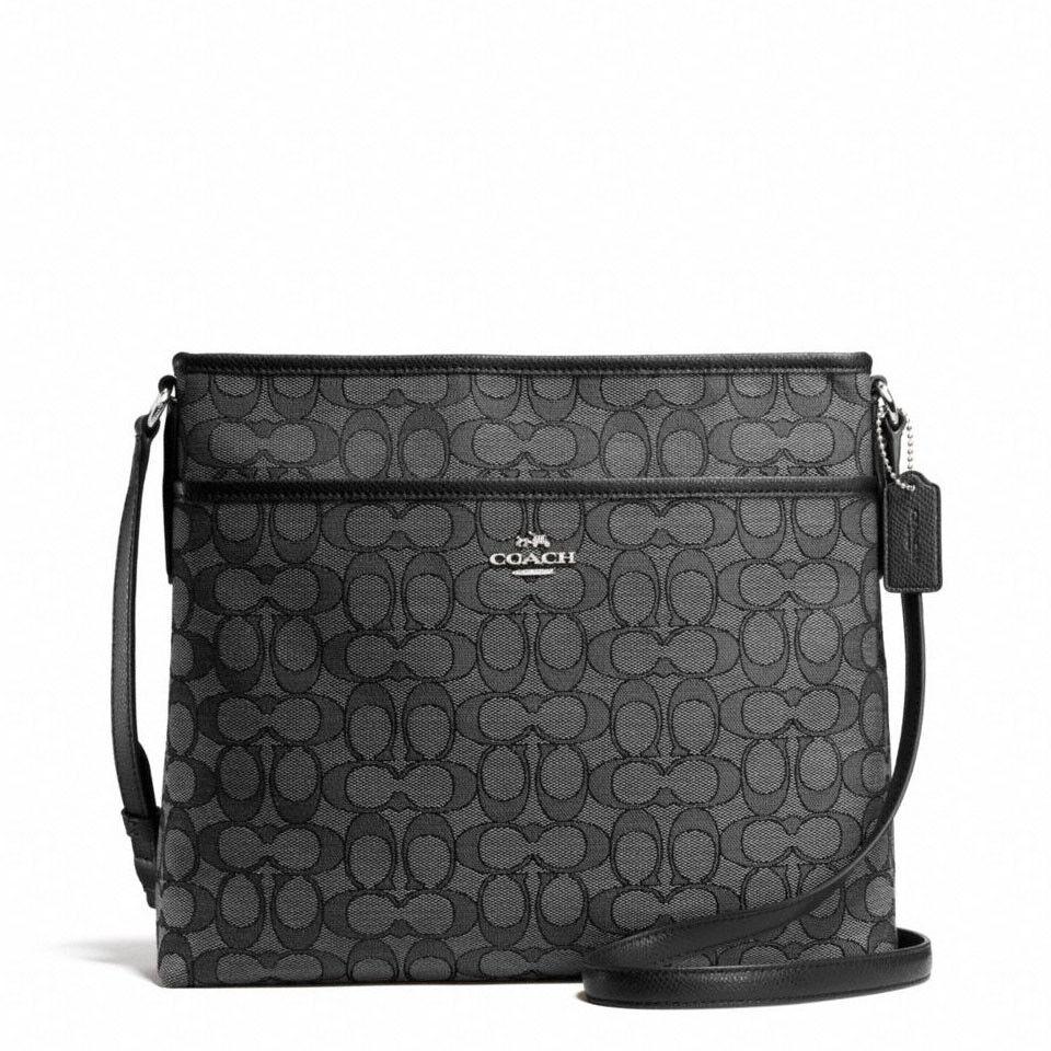 Coach - New Coach F58285 Signature File Bag Crossbody Handbag Black Smoke $195 NWT