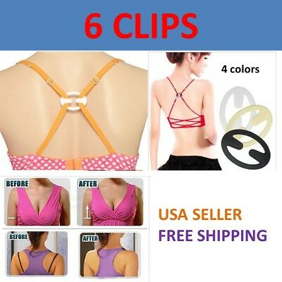 6 Bra Strap Concealer Clips Solution Perfect Lift Max Cleavage Control Racerback