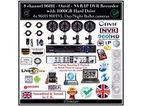 4 Cameras 960H CCTV Kit, 8 Channel 960H DVR 1TB HDD, 4x 900TVL Bullet Cameras