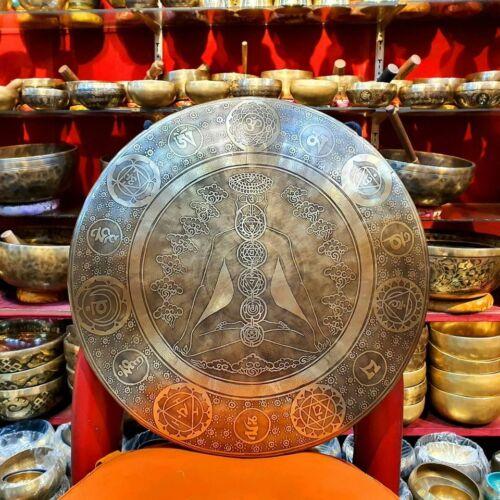 Tibetan gong Handmade 24inch High Resonance, Temple gong Seven Chackra Meditatio