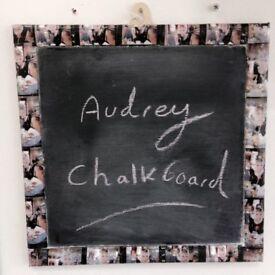 Audrey Hepburn handmade chalkboard decoupaged unique one of a kind vintage retro home decoration