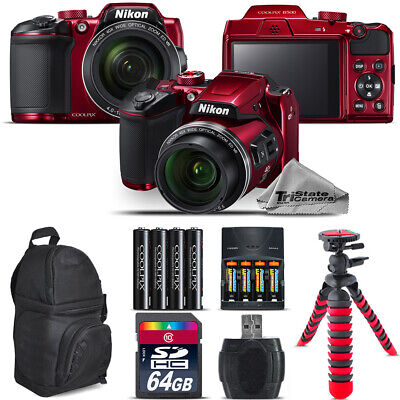 Nikon COOLPIX B500 RED Camera 40x Zoom + Extra Battery + Backpack - 64GB Bundle