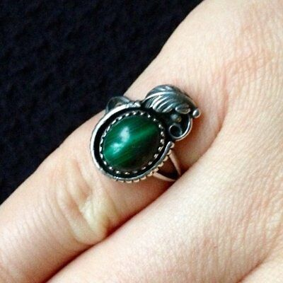 1940s Jewelry Styles and History Size 5 Vintage 1940s NA Southwestern Boho Malachite Sterling Silver Ring Pinky $34.01 AT vintagedancer.com