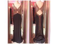 💕Black and bronze showstopper formal dress with embellished detail back