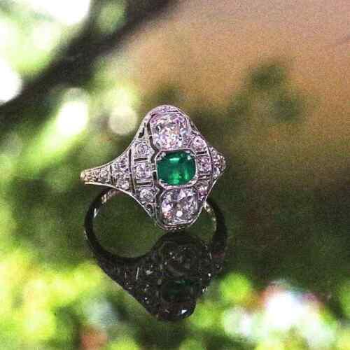 Circa 1925s Stunning Art Deco Deep Green Emerald & Fancy Cut CZ 1.39TCW Ring