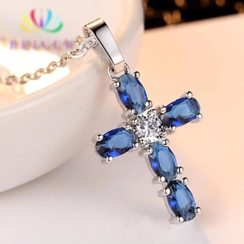 Women Lab-Sapphire Blue CZ Cubic Crystal Cross Small Silver Pendant Necklace 153 Fashion Jewelry