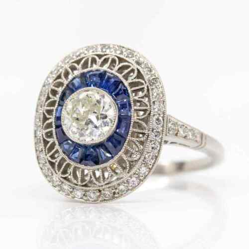 Pure 925 Sterling Silver Art Deco Inspired White 1.3CT CZ and Blue Sapphire Ring