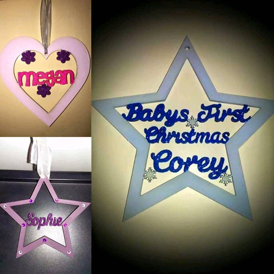 Personalised glitter Christmas baubles