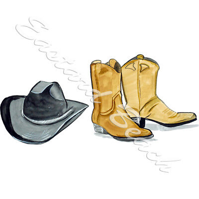 Cowboy Boots and Hat Printed Vinyl Decal Sticker - Car Truck RV SUV  (Cowboy Hat And Boots)