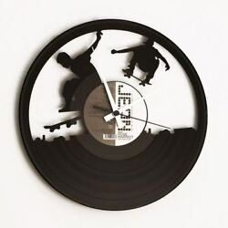 Skateboard Vinyl Record Wall Clock Home Decor Fan Art