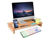 HOMFA Bamboo Monitor Stand Riser Laptop Notebook TV Desktop Storage Organizer 60*30 *8.5cm
