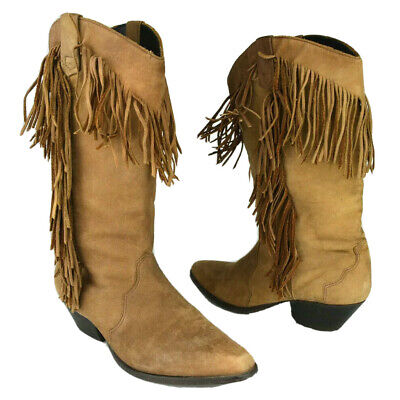 VTG Acme Womens Size 7 Brown Suede Leather Fringe Western Mid-calf Cowboy Boots