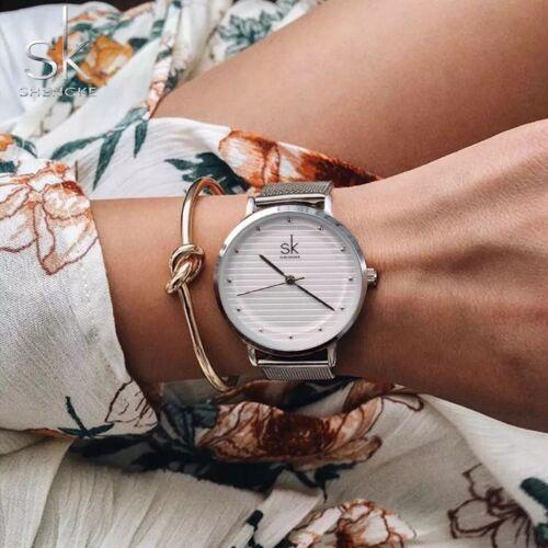 Damenuhr Silber Quarz Uhren Mode Frauen Casual Luxus Wasserdicht Kleid