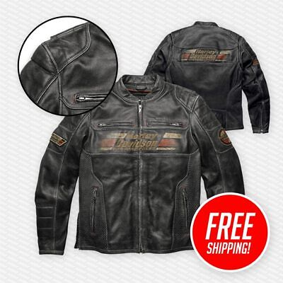 Mens HD Style Classic Motorcycle Leather Jacket With Front and Back Print