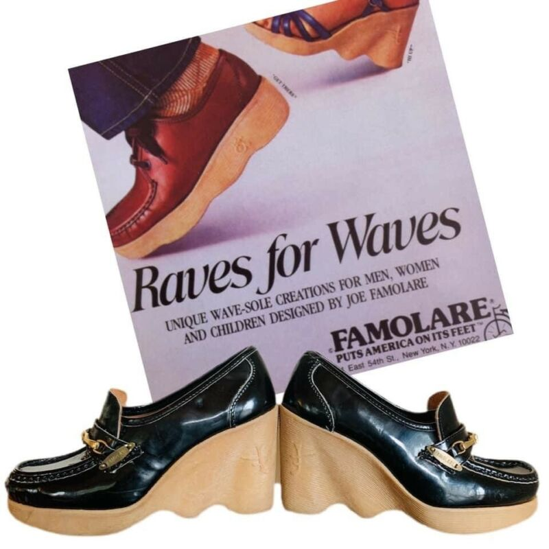 "Vtg Rare 70's Famolare Hi Up Wavy Wedge Loafer Heels 8.5"" insole"