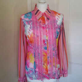 Beautiful hippy/boho vibrant pink/milti coloured tailored blouse UK size 10