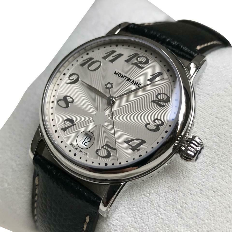 MONTBLANC STAR SILVER DIAL WITH BLACK LEATHER STRAP. MINT CONDITION
