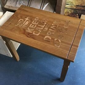 Laser Engraved ''Keep Calm And Drink Coffee'' Coffee/Side Table
