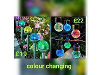 Colour changing crackle ball garden lights