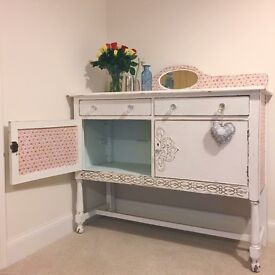 Stunning sideboard dresser with decoupage detailing and crystal effect handles
