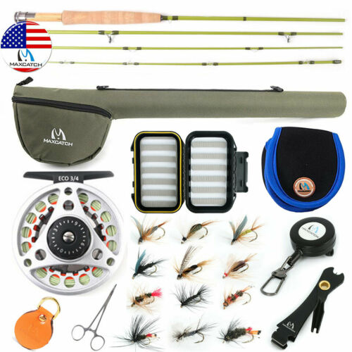 Maxcatch 1/2/3WT Fly Fishing Rod Combo, Rod, Reel, Line Outfit For Small Stream