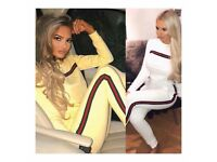 Women's white and yellow stripe loungewear tracksuit size 6-14 £25