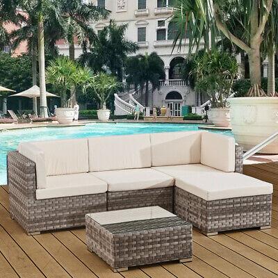 Garden Furniture - 4 seats outdoor sofa rattan garden furniture set - Grey - CANNES