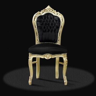 Sitzmöbel Lounge-stuhl (Barock Stuhl schwarz gold Stof luxus design Esszimmer Sitzmöbel Deko Büro Lounge)