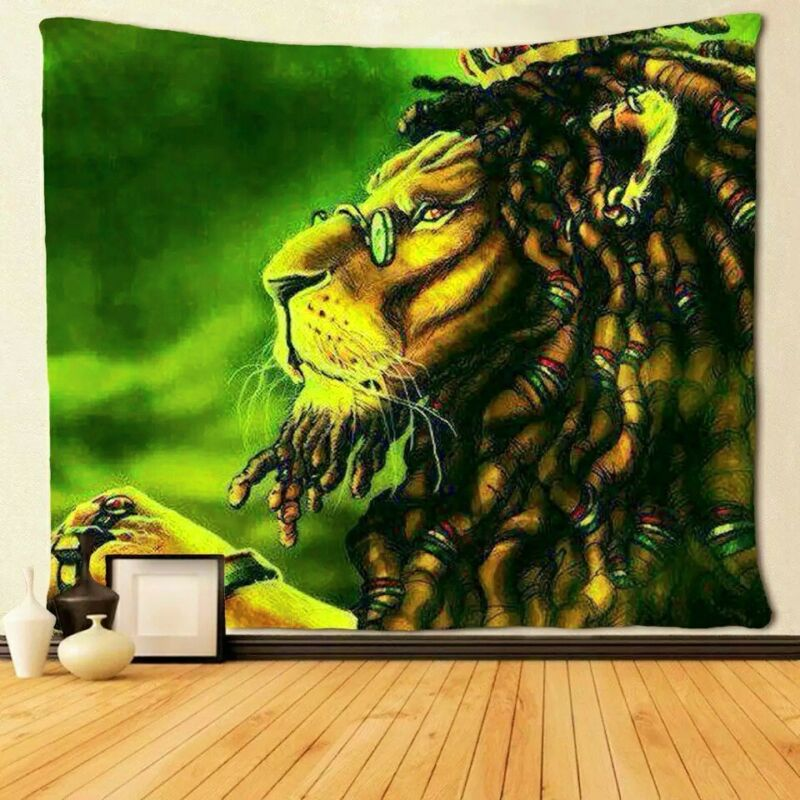 NEW..JAMAICAN  Colour, Lion of Judah,Cloth Textile WALL HANGING ,.......L