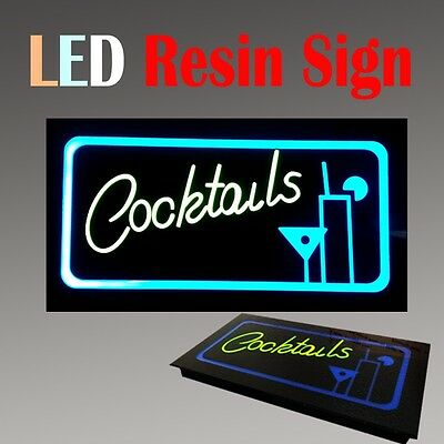 Lighted Led Resin Window Sign Cocktails Bar Restaurant Non Neon Display 17x 9