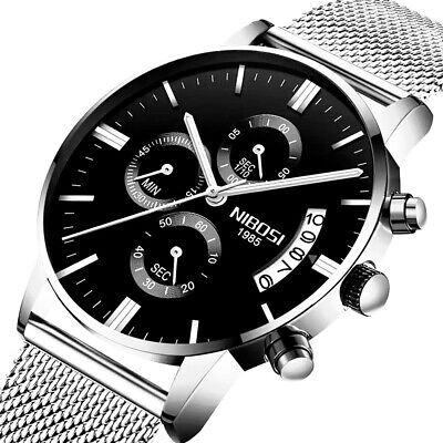 Herrenuhr Armbanduhr Edelstahl Mesh Schwarz Chronograph Analog Quarz Uhr NEU (Herren-uhren Schwarz)