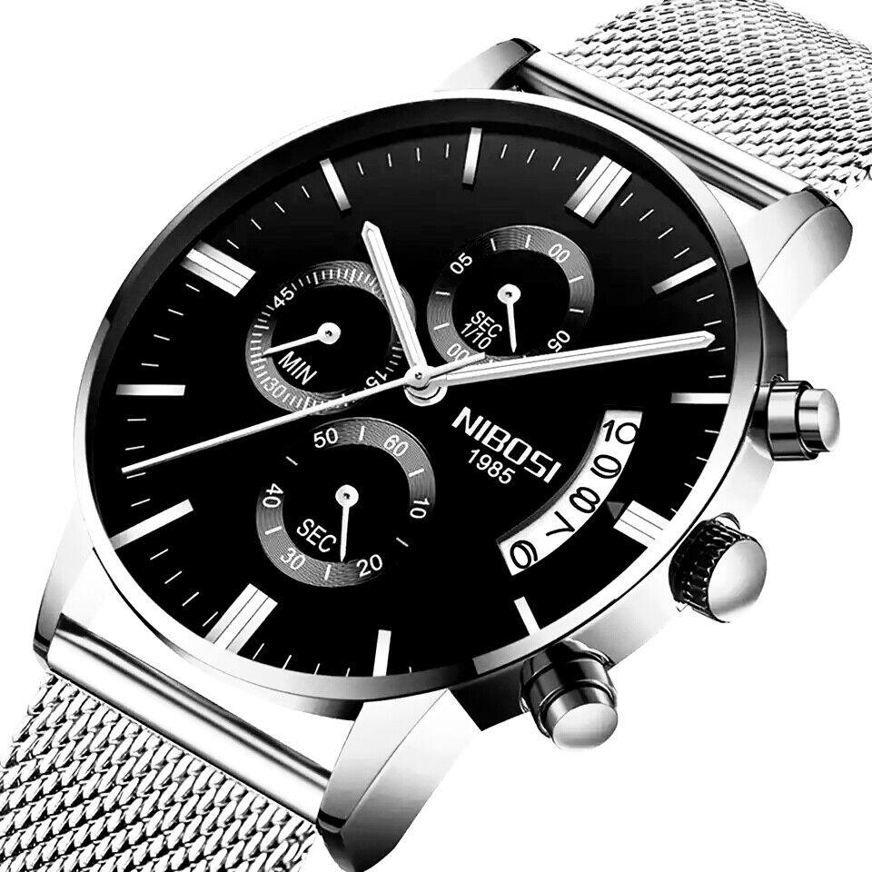 Herrenuhr Armbanduhr Edelstahl Mesh Schwarz Chronograph Analog Quarz Uhr NEU