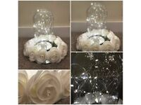 6 Wedding Centrepieces For Sale Light Up Bright LED Cloche with rose surround and mirror baseplate