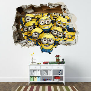 DESPICABLE ME MINIONS SMASHED WALL STICKER - BEDROOM BOYS GIRLS VINYL ...