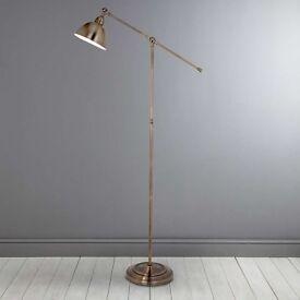 x2 Antique Brass Lever Arm Floor Lamp