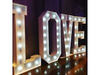 Stunning Giant LOVE Light Up Letters For HIRE