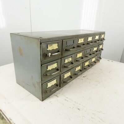 Equipto 18 Drawer Industrial Metal Small Parts Cabinet 34-14w X11d X 13-12h
