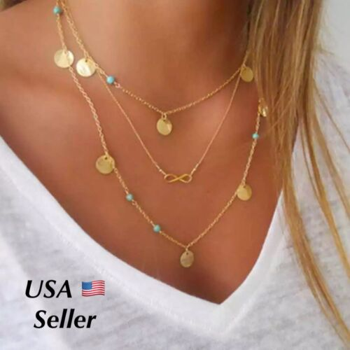 Gold Plated Multilayer Three Layered Infinity Turquoise Boho Necklace 20″ N78-1 Fashion Jewelry
