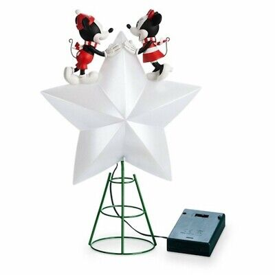 2019 Disney Mickey & Minnie Mouse Light Up Christmas Tree Topper Star NEW in Box