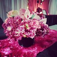 Hot Pink Rosette Table Runners for Rent - $3.75