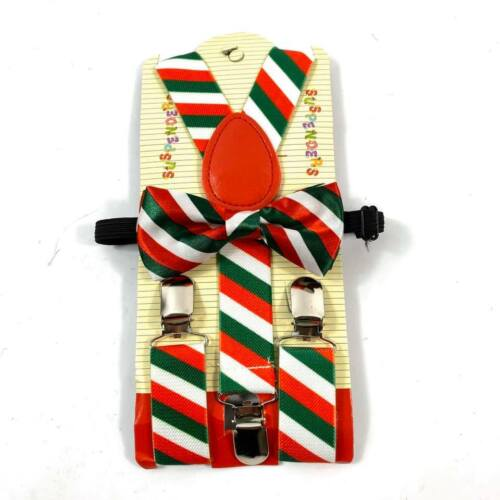 Christmas Red Green Candy Cane Suspender And Bow Tie Set Kids Children Accessory