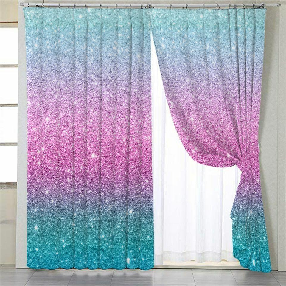 glitter window curtains bedroom blackout woven cute