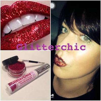 Glitter Lips Red Hot Lipstick Loose Glitter by GlitterChic, extra Glam, 10g Pot