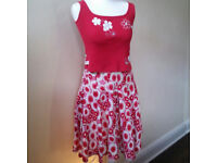 Red/white French Connection skirt with complimentary top UK size 10