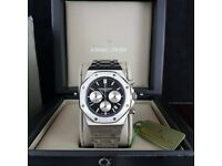 Silver Audemars Piguet with Black Face Cones AP Boxed with Paperwork