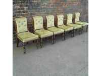 Stunning set of six Victorian button back chairs.