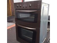 Built-In Electrolux Electric Double Oven with separate Gas Hob in Mocha Glass