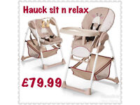 BRAND NEW IN BOX HAUCK SIT N RELAX HIGHCHAIR WITH ADITIONAL BOUNCER SEAT IN BEIGE GIRAFFE £79