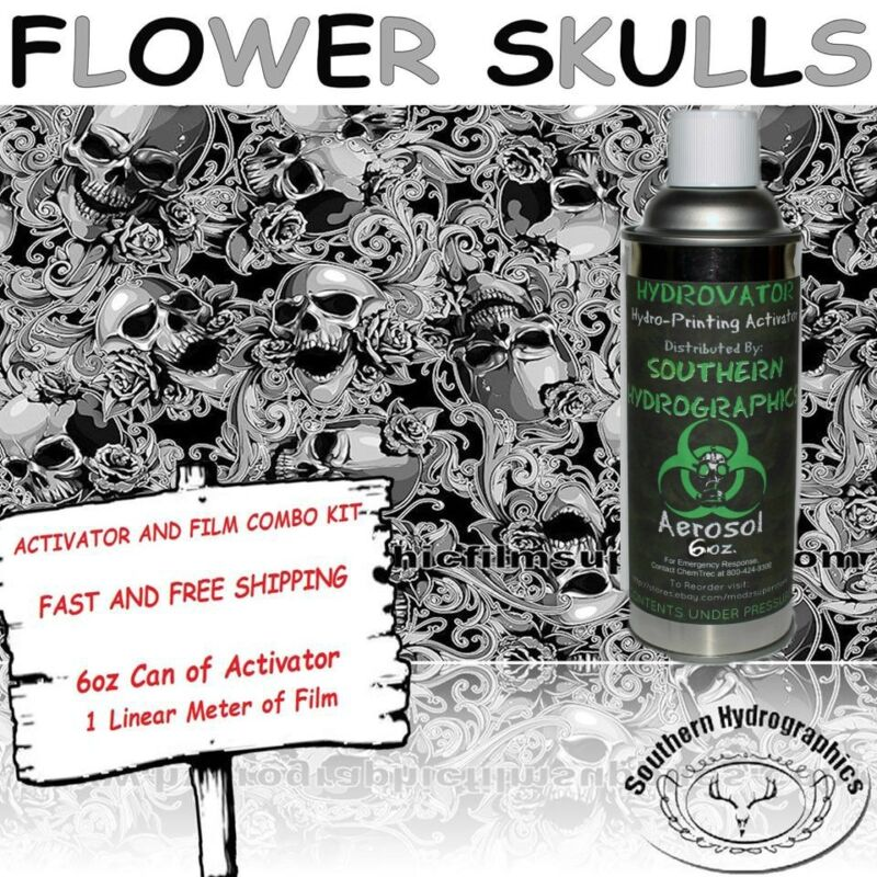 HYDROGRAPHIC FILM WATER TRANSFER HYDRO DIP 6OZ. ACTIVATOR FLOWER SKULLS DIP KIT