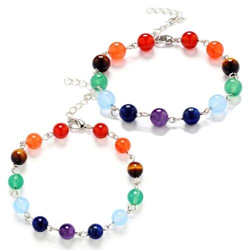 7 Chakra Healing Beads Bracelet Crystal Quartz Natural Stone  Reiki 7″+1.5″ B6 Charms & Charm Bracelets